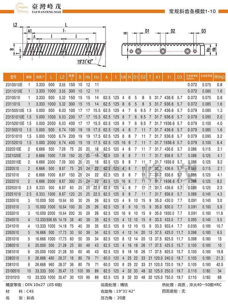 常规斜齿条模数1~10(DIN10e27)型号选型规格尺寸参数表