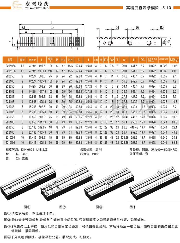 高精度直齿条模数1.5~10(DIN6h25)型号选型规格尺寸参数表
