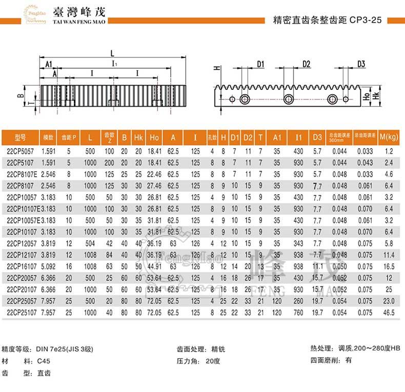 CP齿条型号选型规格尺寸参数表