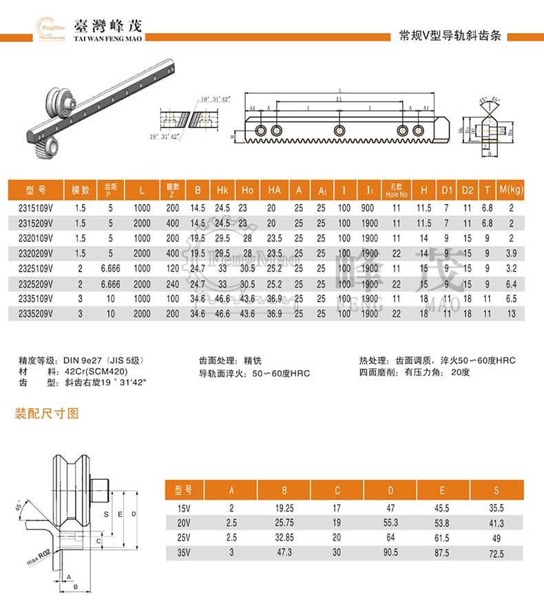 常规V型斜齿条导轨产品型号选型参数