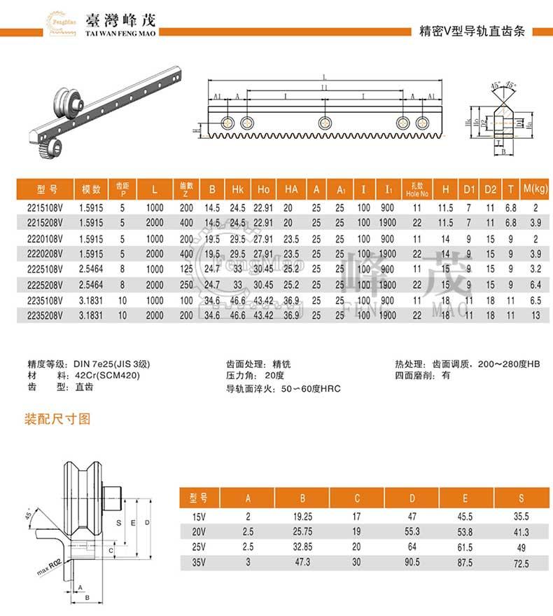 精密V型直齿条导轨产品型号选型参数