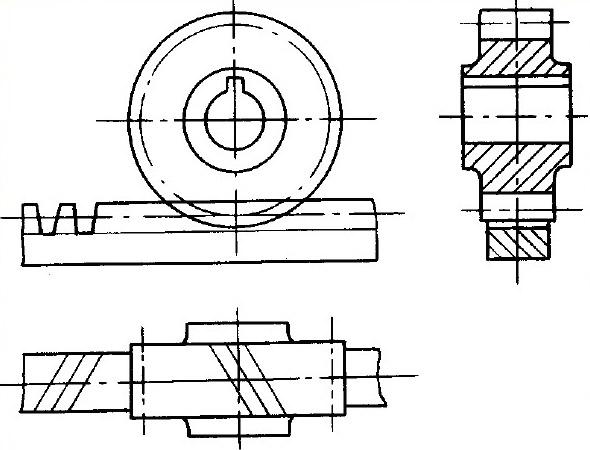 齿轮和齿条啮合的画法
