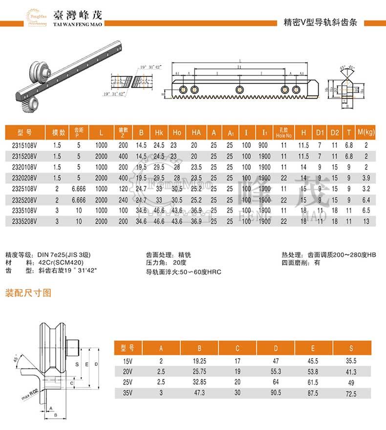 精密V型导轨斜齿条产品型号参数